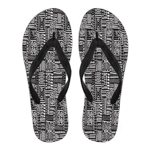Luxury B&W- Flower Men's Flip Flops Men's Flip Flops - Black - B / Small (US 7-8 /EU 40-42)