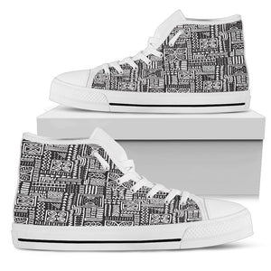 Luxury B&W- Flower Men's Low & High Tops Mens High Top - White - High W / US5 (EU38)
