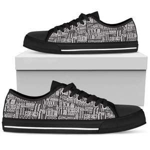 Luxury B&W- Flower Men's Low & High Tops Mens Low Top - Black - Low B / US5 (EU38)