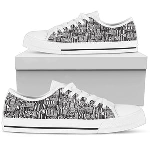Luxury B&W- Flower Men's Low & High Tops Mens Low Top - White - Low W / US5 (EU38)