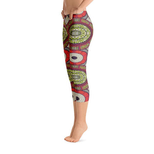 Modern Red Capri Leggings