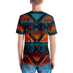 Orange & Blue Mosaic Men's Crew Neck XS
