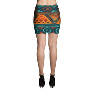 Orange & Blue Mosaic Mini Skirt
