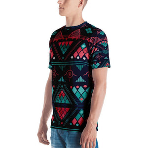 Pink & Blue Mosaic Men's Crew Neck