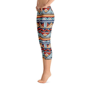 Red & Blue Tribal Capri Leggings