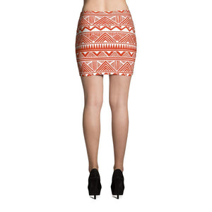 Red Tribal Mini Skirt