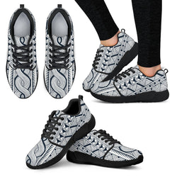 Black Tribal Women's Sneakers Women's Athletic Sneakers - White - W / US5 (EU35)