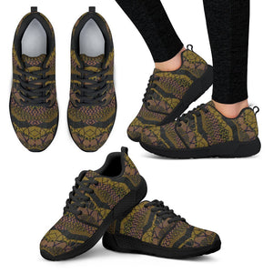 Crocodile Green Women's Sneakers Women's Athletic Sneakers - Black - B / US5 (EU35)