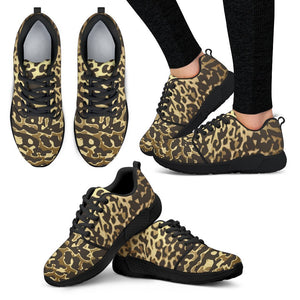 Luxury Gold- Leopard Women's Sneakers Women's Athletic Sneakers - Black - B / US5 (EU35)