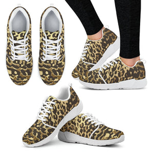 Luxury Gold- Leopard Women's Sneakers Women's Athletic Sneakers - White - W / US5 (EU35)