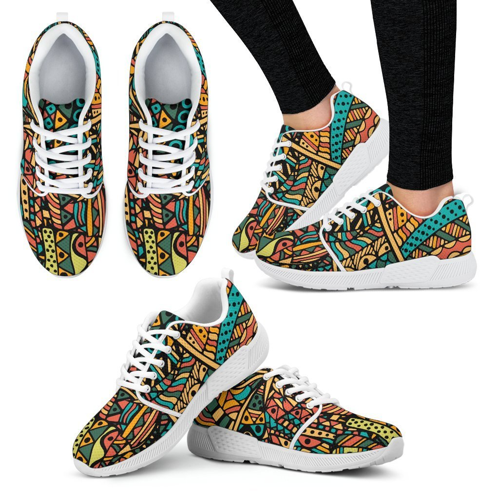 Orange Doodle Women's Sneakers Women's Athletic Sneakers - White - W / US5 (EU35)