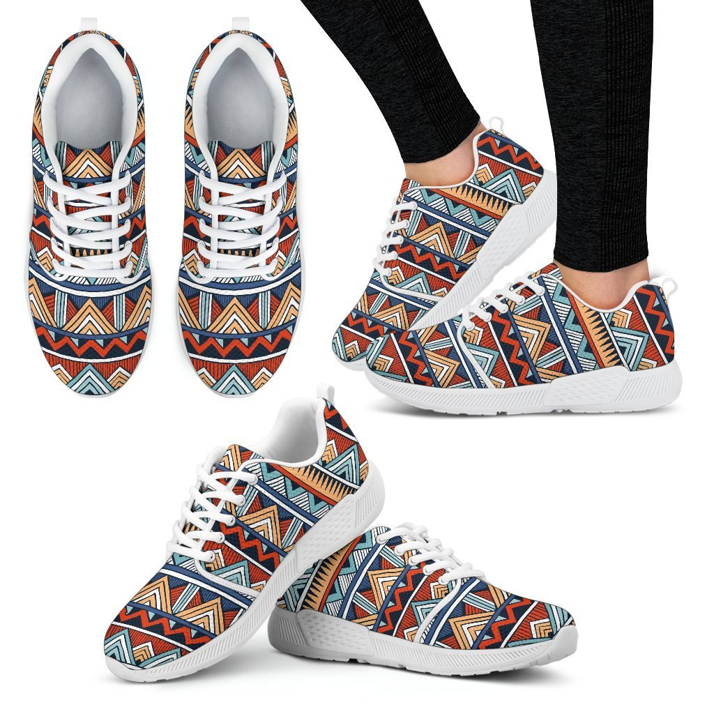 Red & Blue Tribal Women's Sneakers Women's Athletic Sneakers - White - W / US5 (EU35)