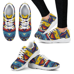 Yellow & Blue Mosaic Women's Sneakers Women's Athletic Sneakers - White - W / US5 (EU35)