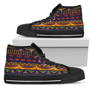 Blue & Yellow Tribal Women's Low & High Tops Womens High Top - Black - High B / US5.5 (EU36)