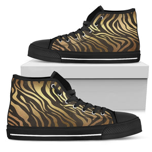 Luxury Gold- Tiger Women's Low & High Tops Womens High Top - Black - High B / US5.5 (EU36)