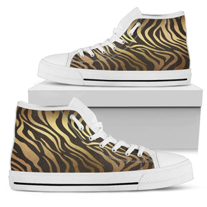 Luxury Gold- Tiger Women's Low & High Tops Womens High Top - White - High W / US5.5 (EU36)