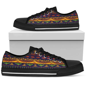 Blue & Yellow Tribal Women's Low & High Tops Womens Low Top - Black - Low B / US5.5 (EU36)