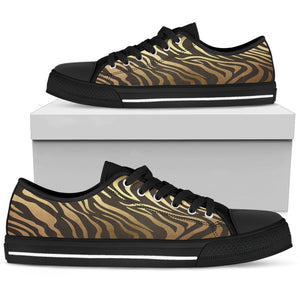 Luxury Gold- Tiger Women's Low & High Tops Womens Low Top - Black - Low B / US5.5 (EU36)