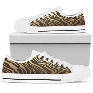 Luxury Gold- Tiger Women's Low & High Tops Womens Low Top - White - Low W / US5.5 (EU36)
