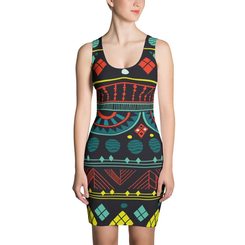 Aqua Tribal Dress XS