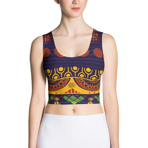 Blue & Yellow Tribal Crop Top XS