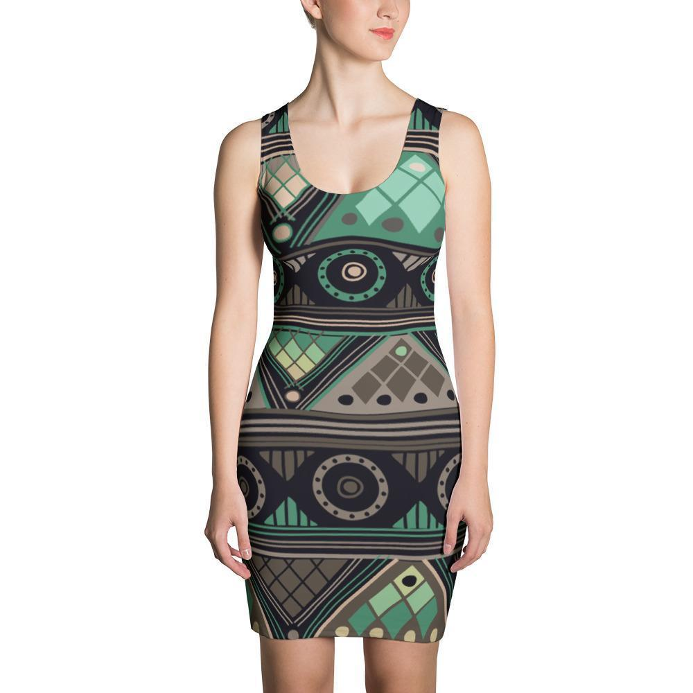 Green Mosaic Dress XS