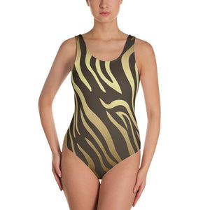 Luxury Gold- Tiger One-Piece Swimsuit XS