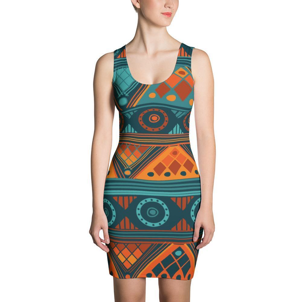Orange & Blue Mosaic Dress XS