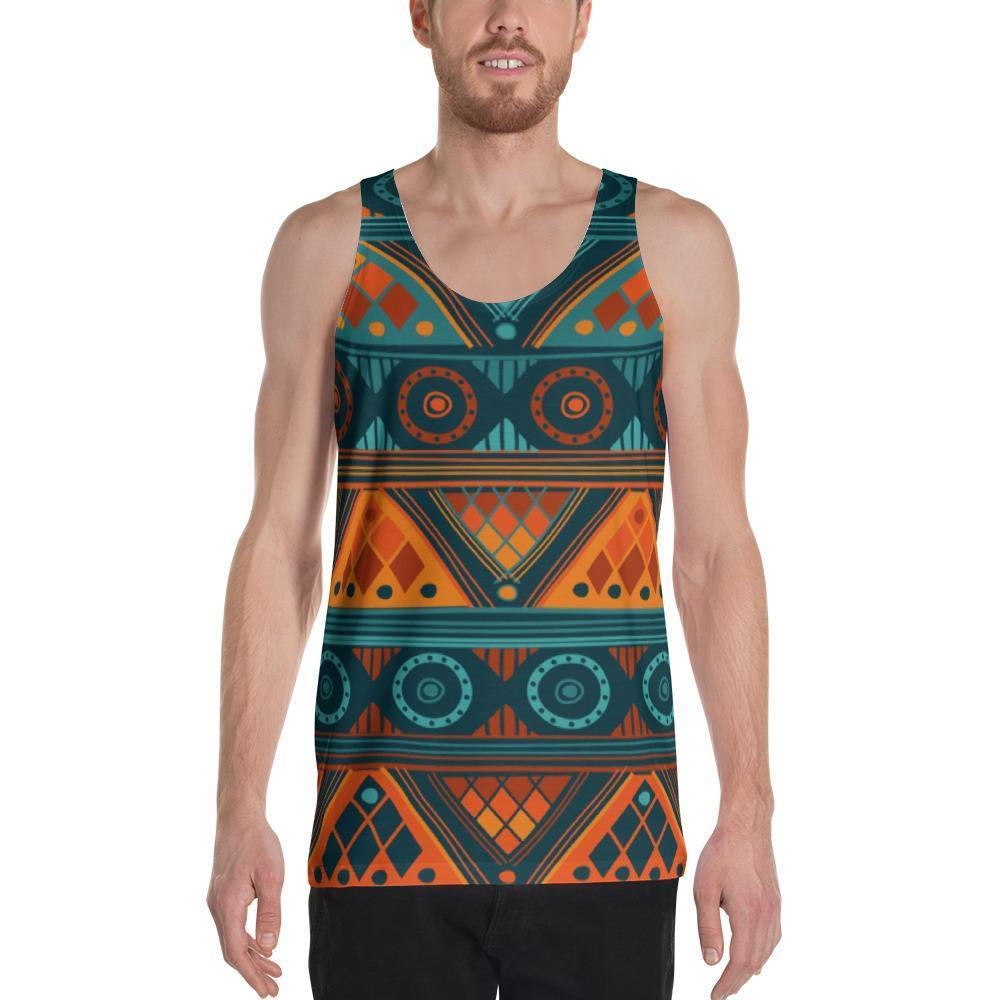 Orange & Blue Mosaic Men's Tank XS