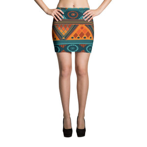 Orange & Blue Mosaic Mini Skirt XS