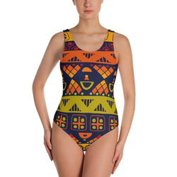 Orange & Yellow Tribal One-Piece Swimsuit XS