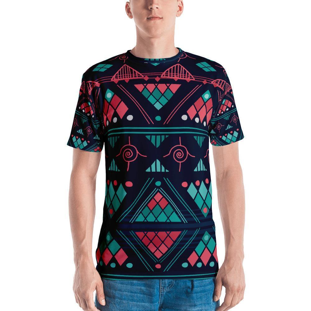Pink & Blue Mosaic Men's Crew Neck XS
