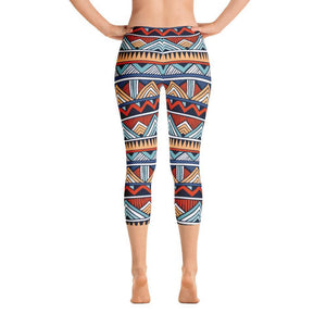 Red & Blue Tribal Capri Leggings XS