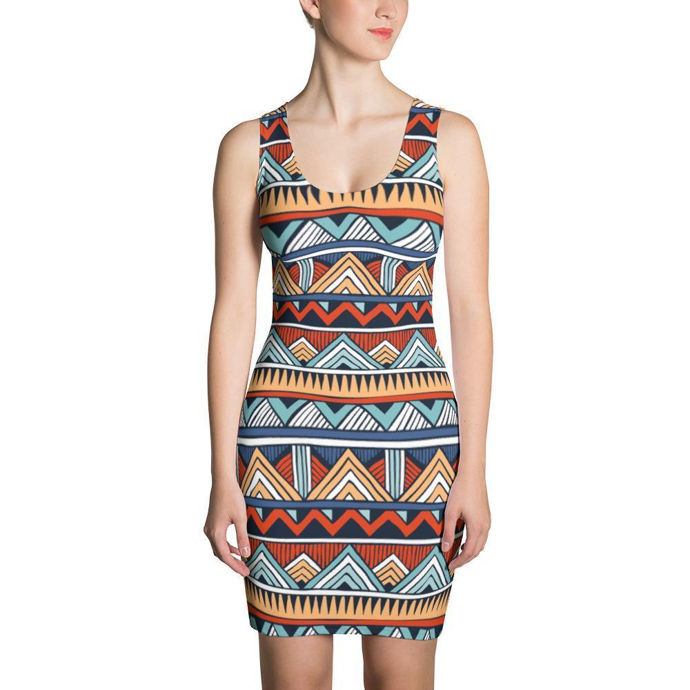 Red & Blue Tribal Dress XS
