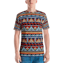 Red & Blue Tribal Men's Crew Neck XS