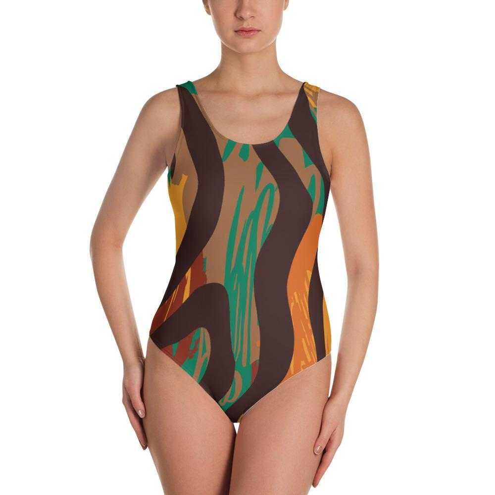 Safari Stripe One-Piece Swimsuit XS