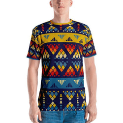 Yellow & Blue Mosaic Men's Crew Neck XS