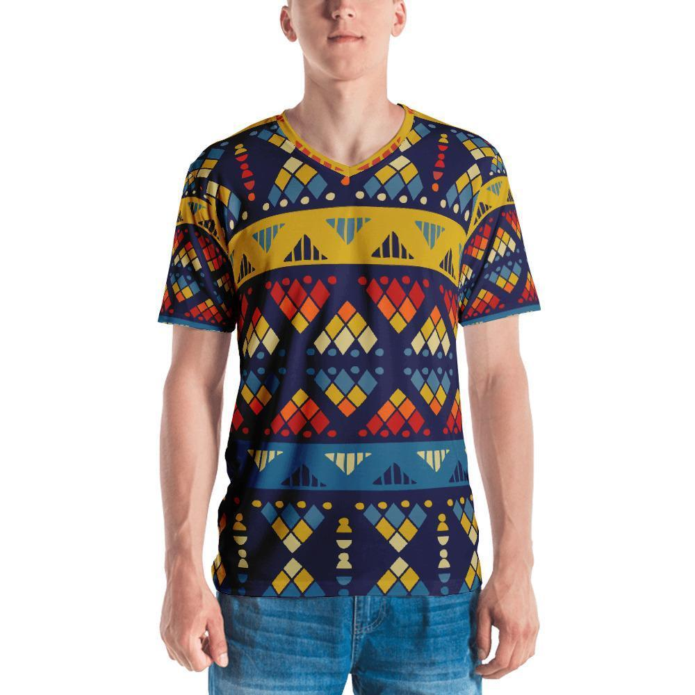 Yellow & Blue Mosaic Men's V-Neck XS
