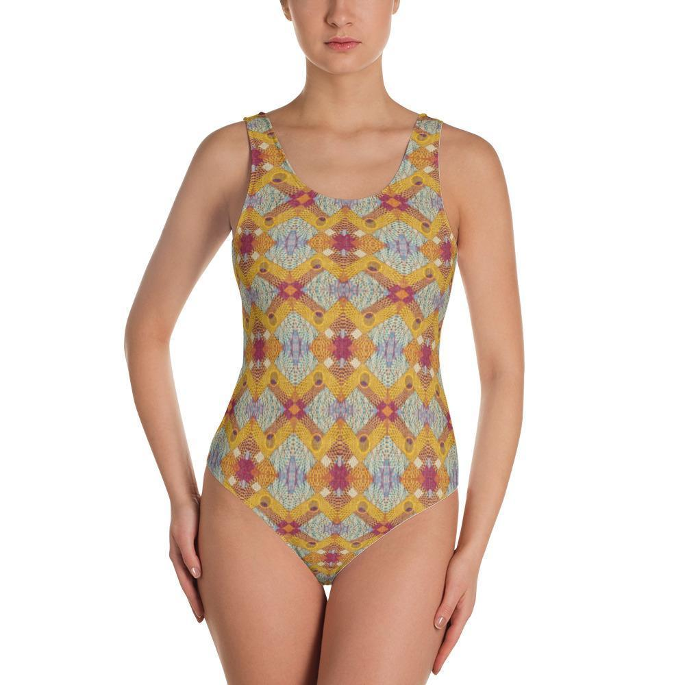 Yellow Diamond One-Piece Swimsuit XS