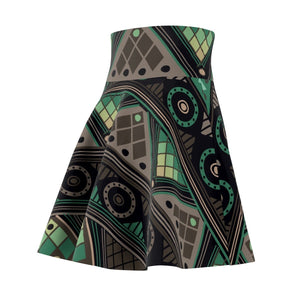 Green Mosaic Skater Skirt All Over Prints