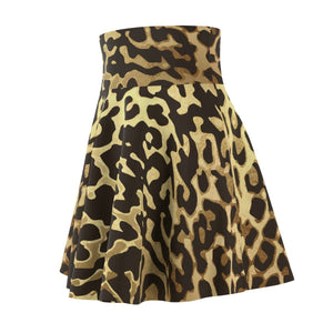 Luxury Gold- Leopard Skater Skirt All Over Prints