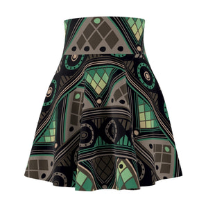 Green Mosaic Skater Skirt All Over Prints XS