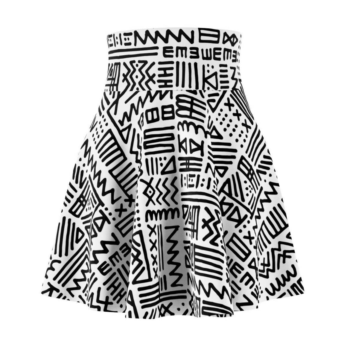 Luxury B&W- ZigZag Skater Skirt All Over Prints XS