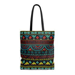 Aqua Tribal Tote Bags Large