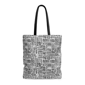 Luxury B&W- ZigZag Tote Bags Large