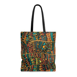 Orange Doodle Tote Bags Large