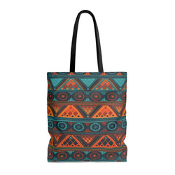 Orange & Blue Mosaic Tote Bags Large