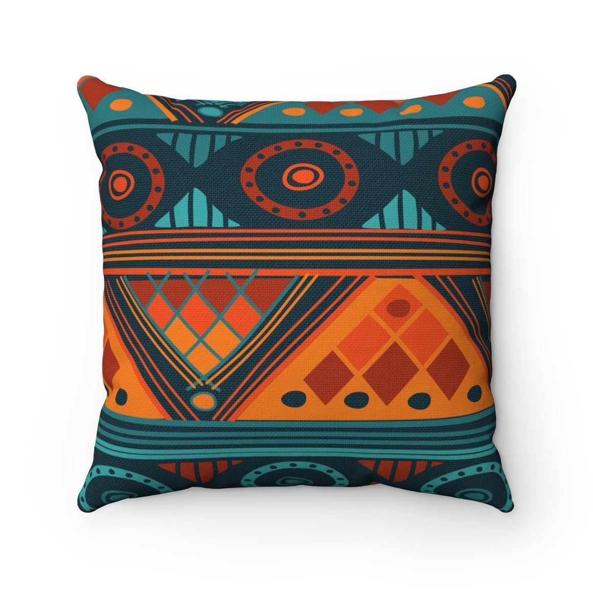 Orange & Blue Mosaic Pillow Home Decor 14x14