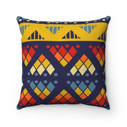 Yellow & Blue Mosaic Pillow Home Decor 14x14