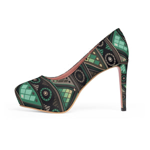Green Mosaic Platform Heels Shoes